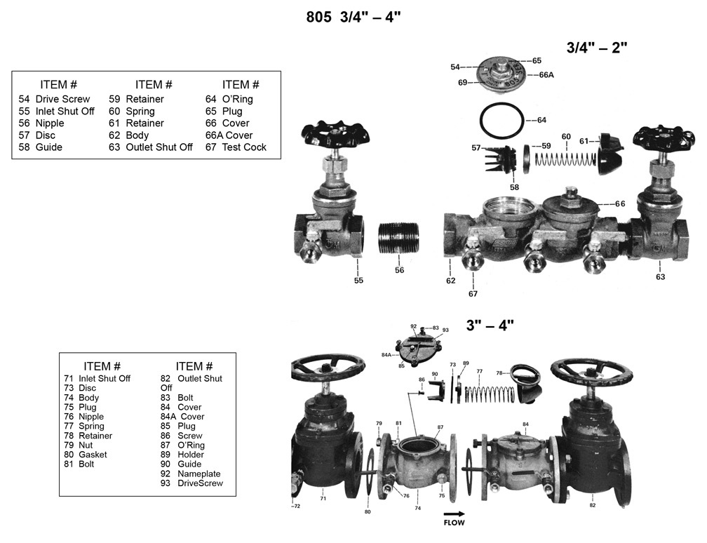 "Schematic for Febco 805 3/4"" - 4"""