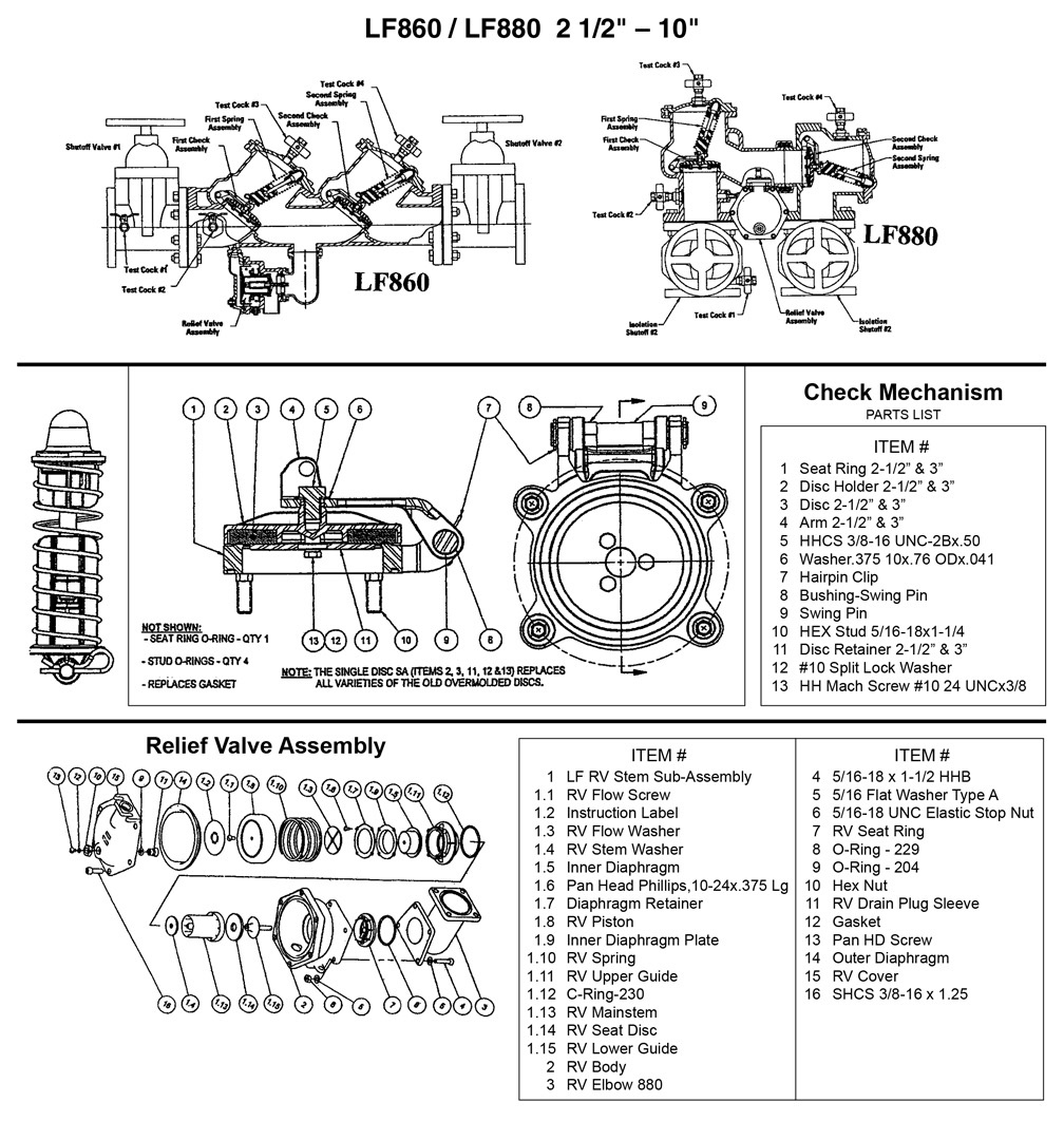"Schematic for Febco LF860 / LF880 2 1/2"" - 10"""