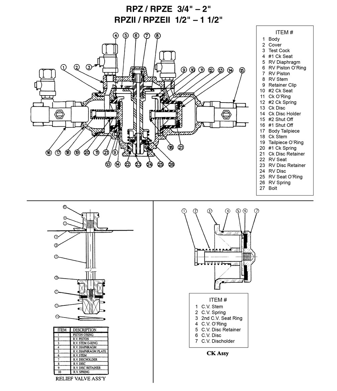 BAVCO  Common    Backflow    Repair Parts  Flomatic