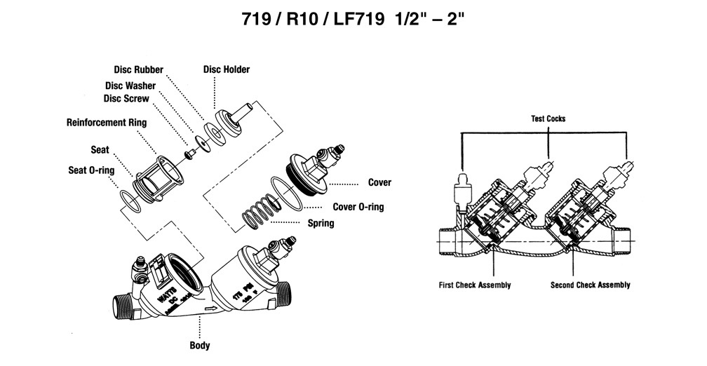 "Schematic for Watts 719 / R10 / LF719 1/2"" - 2"""